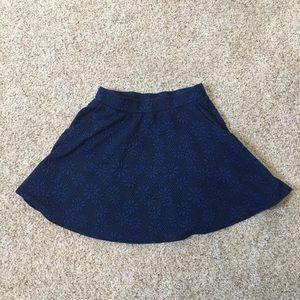 Joe B Navy Daisy Print Skater Skirt with Pockets